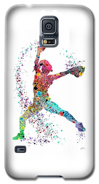 Softball Galaxy S5 Case - Baseball Softball Pitcher Watercolor Print by Svetla Tancheva