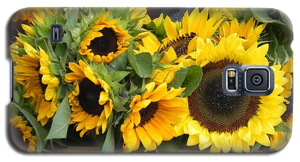 Galaxy S5 Case featuring the photograph Basket Of Sunflowers by Chrisann Ellis