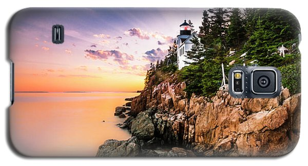 Galaxy S5 Case featuring the photograph Bass Harbor Lighthouse Sunset by Ranjay Mitra