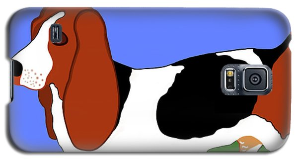 Cartoon Basset Hound In The Yard Galaxy S5 Case