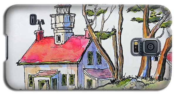Galaxy S5 Case featuring the painting Battery Point Lighthouse by Terry Banderas