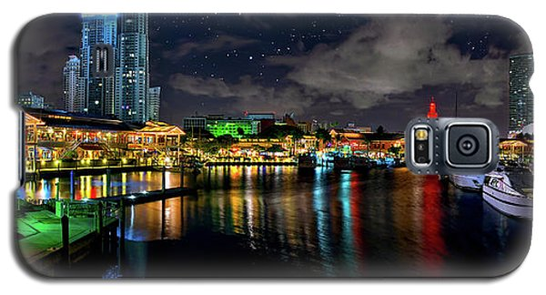 Bayside Miami Florida At Night Under The Stars Galaxy S5 Case by Justin Kelefas