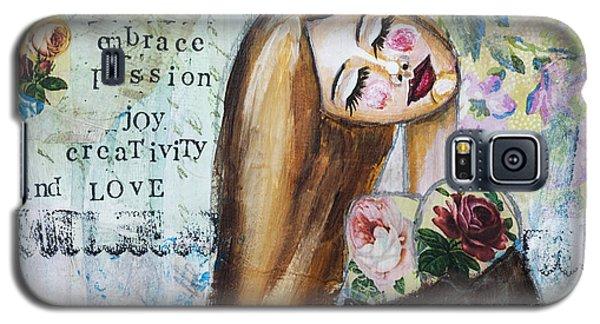 Galaxy S5 Case featuring the mixed media Be Brave Inspirational Mixed Media Folk Art by Stanka Vukelic