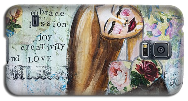Be Brave Inspirational Mixed Media Folk Art Galaxy S5 Case