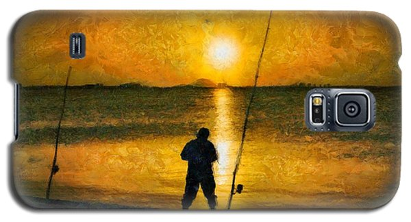 Galaxy S5 Case featuring the photograph Beach Fishing  by Scott Carruthers