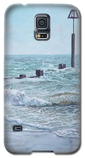Galaxy S5 Case featuring the painting Beach Groin With Autumn Waves by Martin Davey