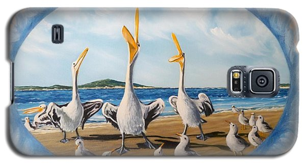 Galaxy S5 Case featuring the painting Beach Platoon by Sigrid Tune
