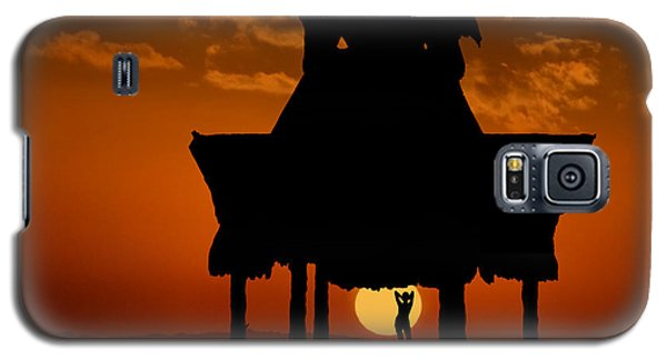 Galaxy S5 Case featuring the photograph Beach Shelter At Sunset by Joe Bonita