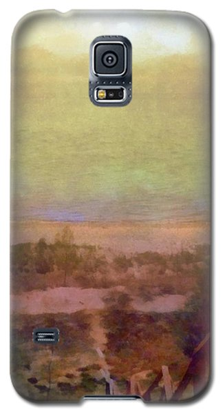 Galaxy S5 Case featuring the digital art Beach Stairs With Hazy Sky by Michelle Calkins