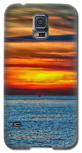 Galaxy S5 Case featuring the photograph Beach Sunset And Boat by Mariola Bitner
