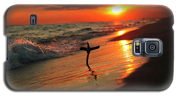 Beach Sunset And Cross Galaxy S5 Case
