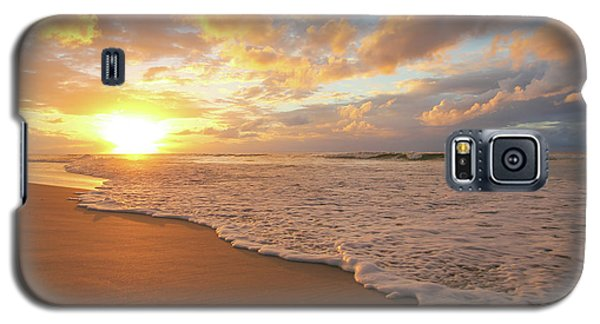 Beach Sunset With Golden Clouds Galaxy S5 Case