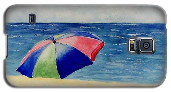 Galaxy S5 Case featuring the painting Beach Umbrella by Jamie Frier