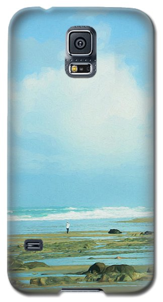 Galaxy S5 Case featuring the photograph Beach Walk Painted by Mary Jo Allen