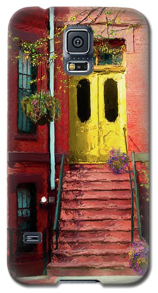 Beantown Brownstone With Yellow Doors Galaxy S5 Case
