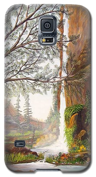 Galaxy S5 Case featuring the painting Bears At Waterfall by Myrna Walsh