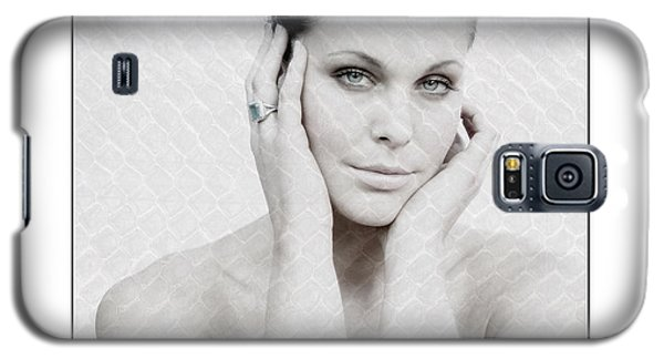 Galaxy S5 Case featuring the photograph Beautiful Woman Holding Her Head Up by Michael Edwards