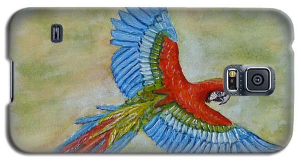 Galaxy S5 Case featuring the painting Beauty In The Sky ... Parrot by Kelly Mills