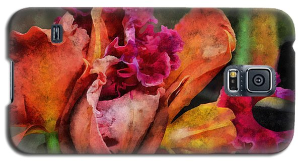 Galaxy S5 Case featuring the mixed media Beauty Of An Orchid by Trish Tritz