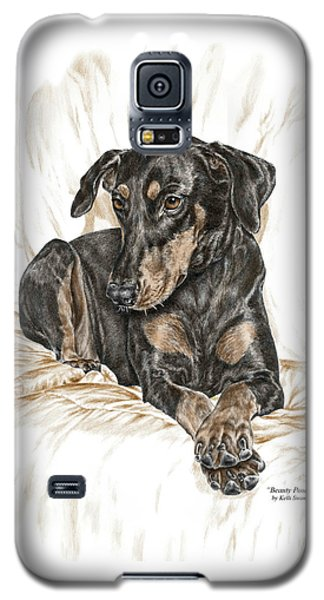 Galaxy S5 Case featuring the drawing Beauty Pose - Doberman Pinscher Dog With Natural Ears by Kelli Swan