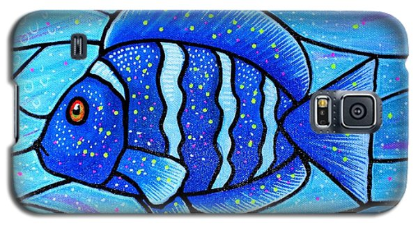 Galaxy S5 Case featuring the painting Beckys Blue Tropical Fish by Jim Harris