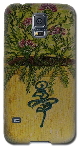 Galaxy S5 Case featuring the painting Bee Sting Crock With Good Luck Horseshoe by Kathy Marrs Chandler