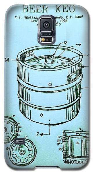 Beer Keg 1994 Patent - Blue Galaxy S5 Case by Scott D Van Osdol