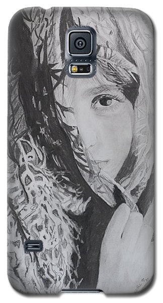 Galaxy S5 Case featuring the drawing Behind The Veil by Quwatha Valentine