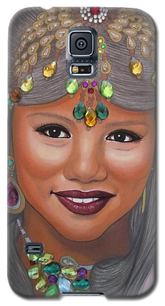 Galaxy S5 Case featuring the painting Bejeweled Beauties - Bindiya by Malinda Prudhomme
