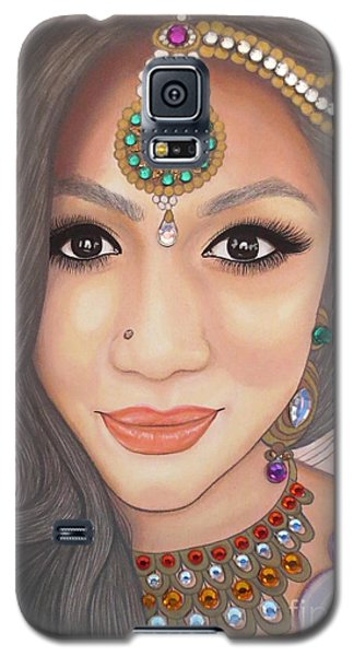 Galaxy S5 Case featuring the painting Bejeweled Beauties - Chandni by Malinda Prudhomme