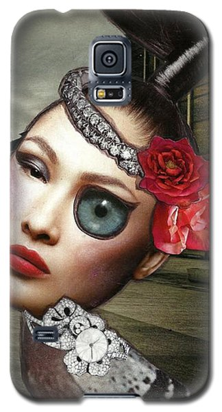 Mixed Media Collage Bejeweled Pigeon Lady Galaxy S5 Case