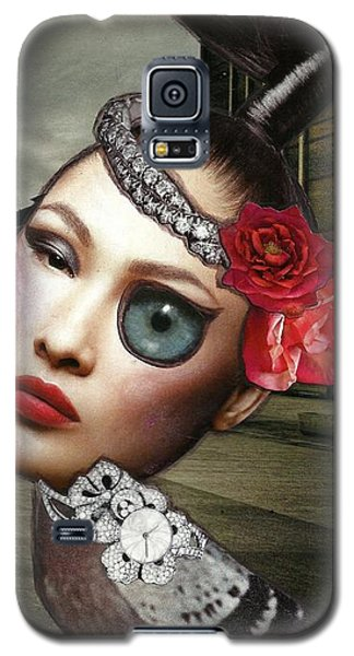 Galaxy S5 Case featuring the mixed media Mixed Media Collage Bejeweled Pigeon Lady by Lisa Noneman