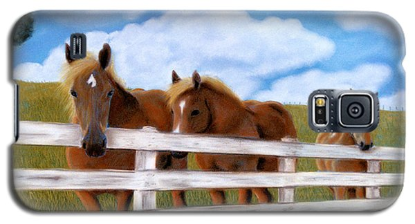 Galaxy S5 Case featuring the pastel Belgians At Pasture by Jan Amiss