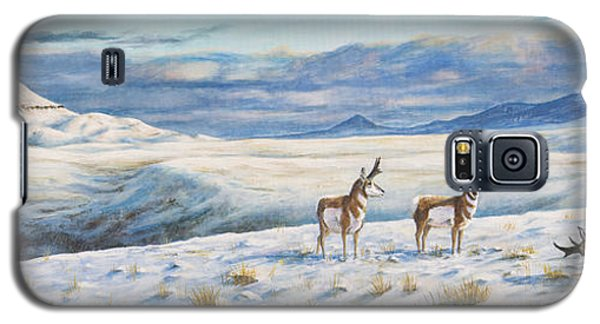 Galaxy S5 Case featuring the painting Belt Butte Winter by Kim Lockman