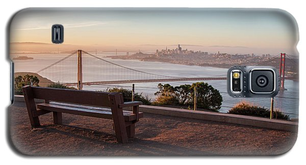 Bench Overlooking Downtown San Francisco And The Golden Gate Bri Galaxy S5 Case