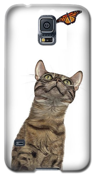Bengal Cat With Butterfly Galaxy S5 Case