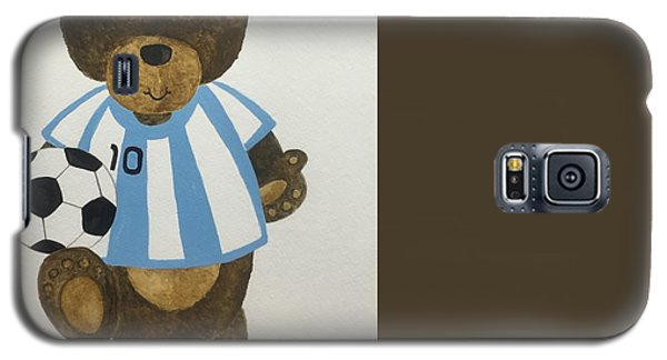 Galaxy S5 Case featuring the painting Benny Bear Soccer by Tamir Barkan