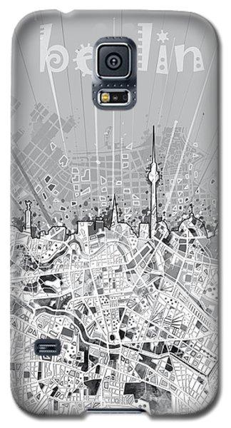 Berlin City Skyline Map 2 Galaxy S5 Case by Bekim Art