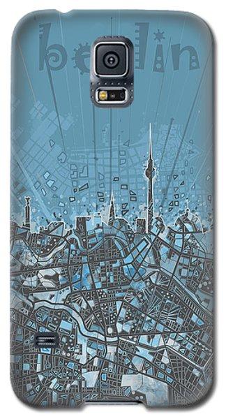 Berlin City Skyline Map 3 Galaxy S5 Case by Bekim Art