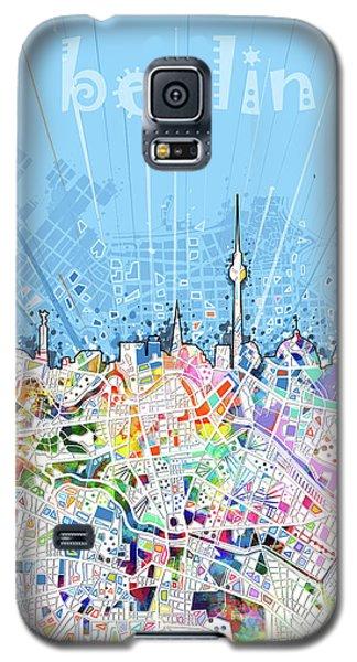 Berlin City Skyline Map Galaxy S5 Case by Bekim Art