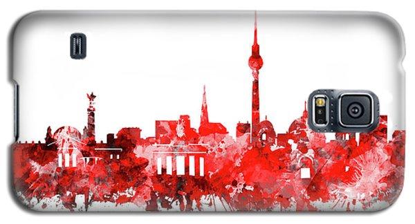 Berlin City Skyline Red Galaxy S5 Case by Bekim Art