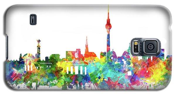 Berlin City Skyline Watercolor Galaxy S5 Case by Bekim Art