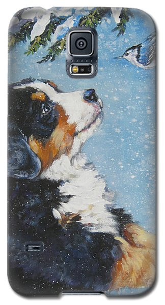 bernese Mountain Dog puppy and nuthatch Galaxy S5 Case