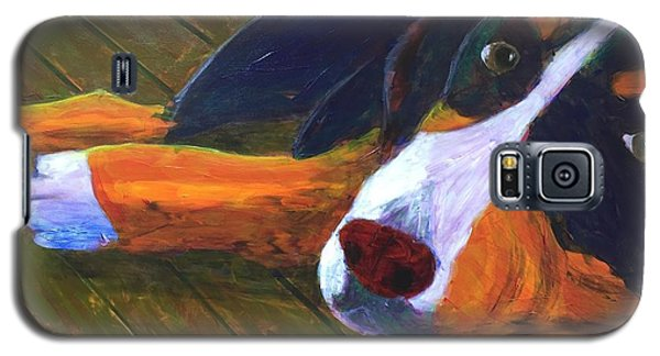 Galaxy S5 Case featuring the painting Bernese Mtn Dog On The Deck by Donald J Ryker III