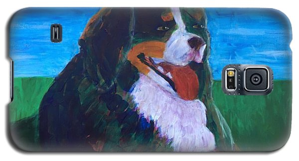 Galaxy S5 Case featuring the painting Bernese Mtn Dog Resting On The Grass by Donald J Ryker III