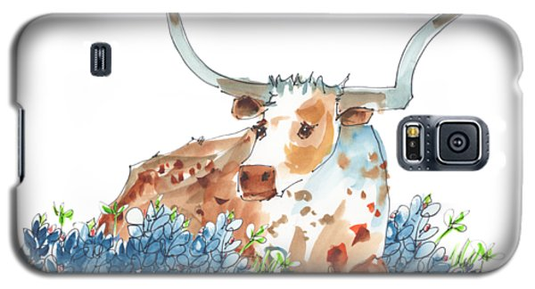 Bessie In The Bluebonnets Watercolor Painting By Kmcelwaine Galaxy S5 Case