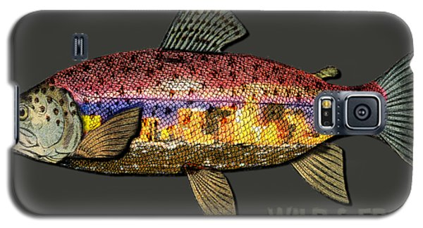Galaxy S5 Case featuring the digital art Fishing - Best Caught Wild-on Dark by Elaine Ossipov