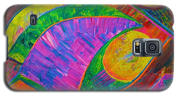 Galaxy S5 Case featuring the painting Between A Rock And A Hard Place by Polly Castor