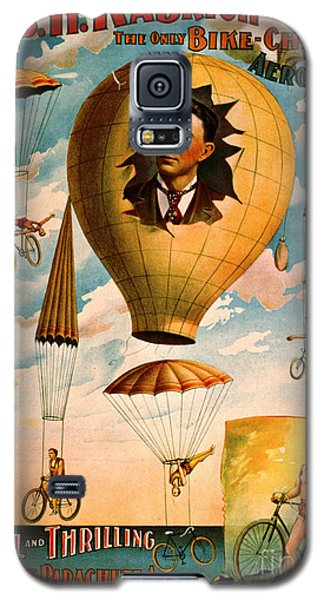 Galaxy S5 Case featuring the photograph Bicycle Parachute Act 1896 by Padre Art