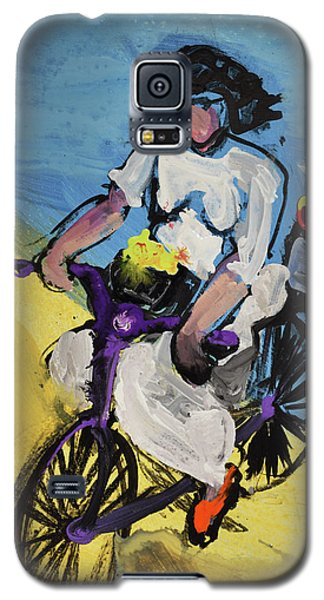 Bicycle Riding With Baskets Of Flowers Galaxy S5 Case